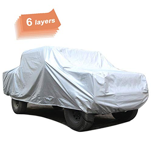 SEAZEN 6 Layers Pickup Truck Car Cover Waterproof All Weather, Outdoor Car Covers for Automobiles, Hail UV Snow Wind Protection, Universal Full Car Cover(231' to 242')