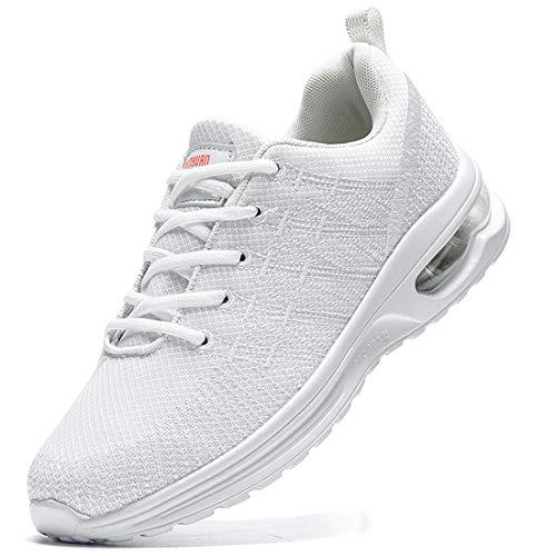 Damyuan Zapatos Correr para Hombres Casual Running Tenis Sneakers Deportivas Gimnasio Gym Trail Fitness Sport Zapatillas Transpirables Plataforma Trekking Calzado Blanco 45 EU