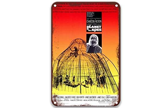 sfasf Planète des singes 1968 - Affiche vintage en métal - Pour jardin, ferme, café et bar - 20,3 x 30,5 cm