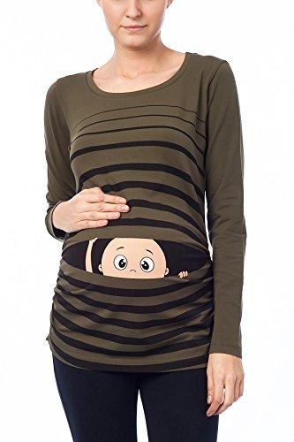 Vêtement de Maternité Humoristique T-Shirt Mignon à Motifs Cadeau pour Grossesse Femme Humour Tee Haut Vetement de Maternite à Manches Longues (Kaki, Small)