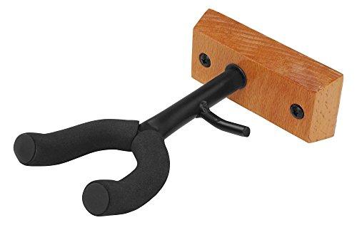 Classic Cantabile Violinen Wandhalter Holz (mit Bogenhalter, Moosgummipolsterung der Gabel, einfach mit zwei Schrauben zu montieren)