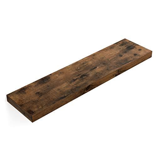 VASAGLE wandplank, wandplank 80 x 20 x 3,8 cm, zwevende plank hangplank voor foto's, decoratie, MDF hout, rustiek, bruin LWS28BX