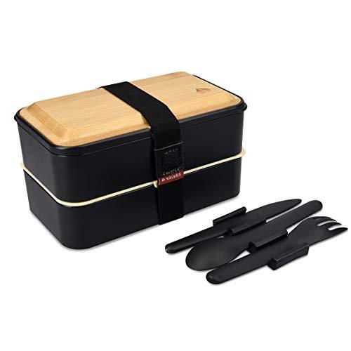 Navaris Recipiente hermético Tipo bento - Fiambrera con 2 Compartimentos Cubiertos y Tapa de bambú - Lunch Box para Llevar Comida Almuerzo - Negro