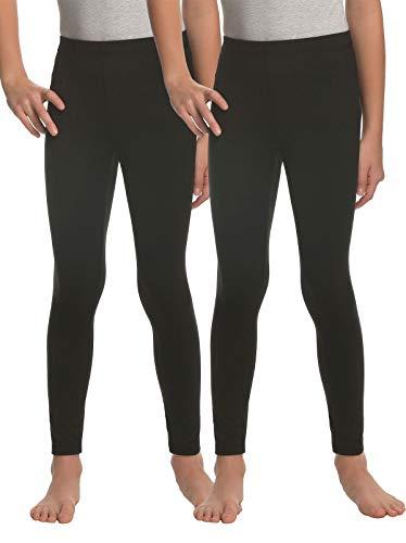 Felina | Kids Velvety Soft Leggings | 2-Pack (Black, Medium)