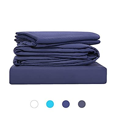 "HOMFY Bed Sheet Set, Deep Pocket Fitted Sheet Up to 18"", Flat Sheet with Pillowcases, Natural Wrinkled Look, Fade, Stain Resistant (Queen, Navy Blue)"
