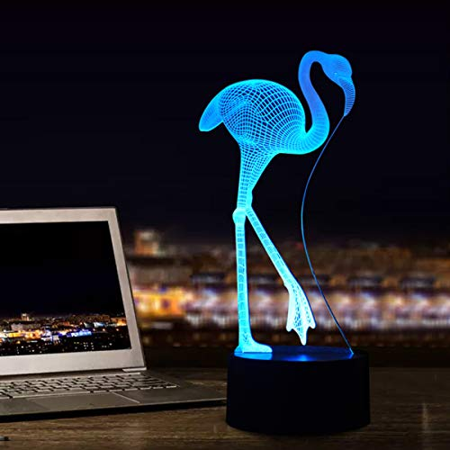 Flamingo 3D Illusion Lamp Led Night Light, USB Powered 7 Colours Flashing Touch Switch Bedroom Decoration Lighting for Kids Christmas Gift
