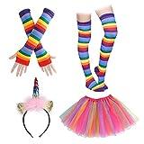 ATPWONZ Rainbow Tutu Skirt Suit with Unicorn Headband Long Gloves Socks and Long...