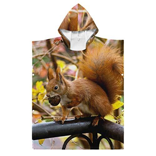 LUPINZ brauner Bademantel mit Eichhörnchen Eat Nut, Kinder-Bademantel für Jungen und Mädchen, mit Kapuze, Polyester, 1, 35.43x27.55in