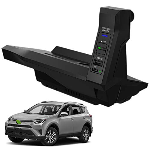 Nuevo Cargador Inalámbrico Coche Auto para Toyota 2013-2018 RAV4 RAV4 Hybrid Consola Central Panel, 15W Qi Carga Rápida Teléfono Cargador con USB y 18W PD para iPhone 12 11 X Samsung S20 S10