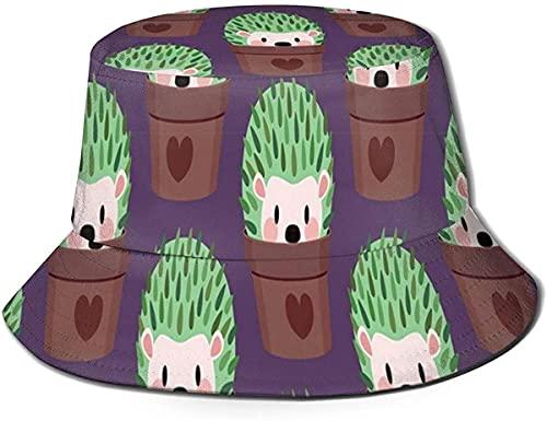 Unisex Fischerhut, feuchtigkeitstransportierender Stoff, UV-Sonnenschutz, Igel-Kaktus, Farbdruck