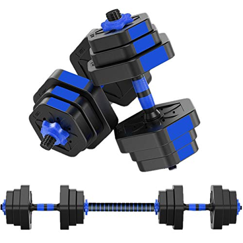 MOJEER ダンベル【最新進化版・3in1】5kg×2個セット (10kg)/10kg×2個セット (20kg)/20kg×2個セット (40kg) ポリエチレン製 筋力トレーニング ダイエット シェイプアップ 静音 008 (10kg×2個セット 青