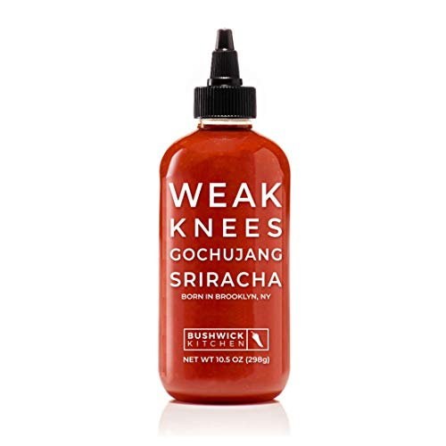 Bushwick Kitchen Weak Knees Gochujang Sriracha Hot Sauce, Classic Sriracha Chili Sauce mixed with the complexity of Korean Gochujang Chili Paste, 10.5 Ounces