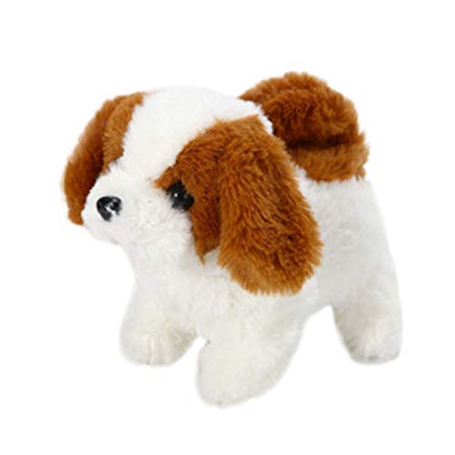 Elestric Realistic Teddy Robot Dog Lucky - Plush Stuffed Animal Puppy Dog Interactive, Halloween Christmas (A)
