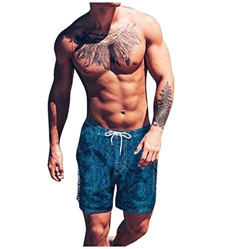 Dasongff – Bañador para hombre, pantalón corto de secado rápido, corte ajustado, estilo casual, para vacaciones, playa, verano, coco, palmeras, hawaiano xx-large Blue-A.