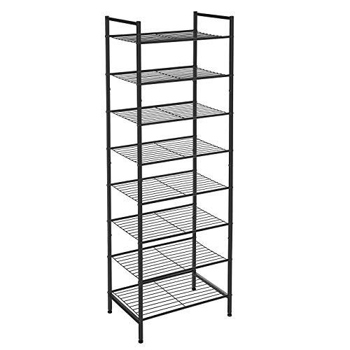 SONGMICS 8-Tier Slim Shoe Rack, Shoe Storage Organiser Stand, 16-24 Pairs of Shoes, Space-Saving with Large Capacity, Vertical Metal Shoe Shelf Storage, 44.6 x 30.5 x 128.5 cm, Black LMR028B01