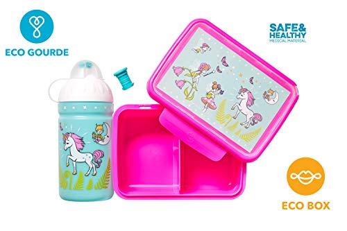 La Gourde écologique 0,5L Enfant sans BPA Bouteille d'eau Incassable Durable et Sympa! Made in EU (Set L'unicorne et Les fées)