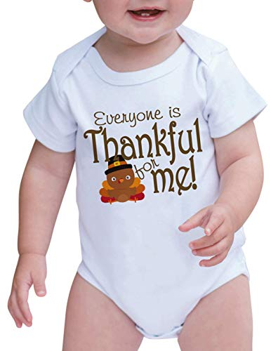 7 ate 9 Apparel Baby Everyone is Thankful for Me Turkey Onepiece 12-18 Months Orange and Brown
