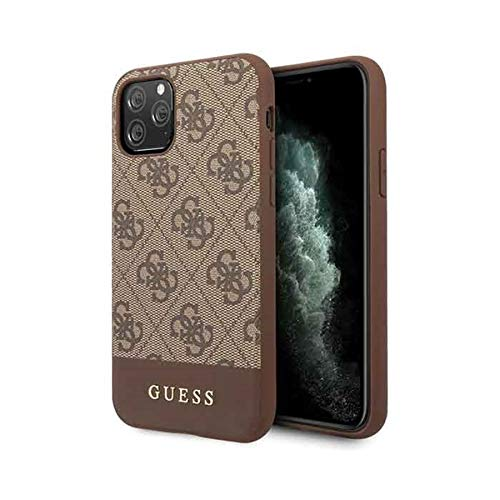 Guess Glitter 4G Stripe Collection - Funda para iPhone 11 Pro MAX, Color Marrón