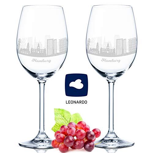 Leonardo Weinglas mit Gravur - Hamburg Skyline im Set - Geschenk für Anspruchsvolle & Weingenießer - Souvenir Andenken Stadt Mitbringsel - Geburtstagsgeschenk Weihnachtsgeschenk