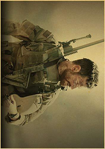 xuyuandass American Sniper Bradley Cooper Movie Retro Art Poster DIY HD Impresión De Lienzo Mural Fondo Moderno Decoración para El Hogar Pintura Al Óleo Sin Marco 50X60Cm 3823F