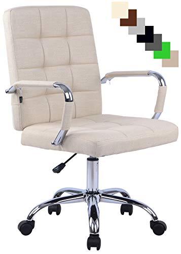 Bürostuhl Deli PRO mit Stoffbezug I Schreibtischstuhl mit Metalldrehkreuz I Chefsessel mit Laufrollen I erhältlich, Farbe:Creme