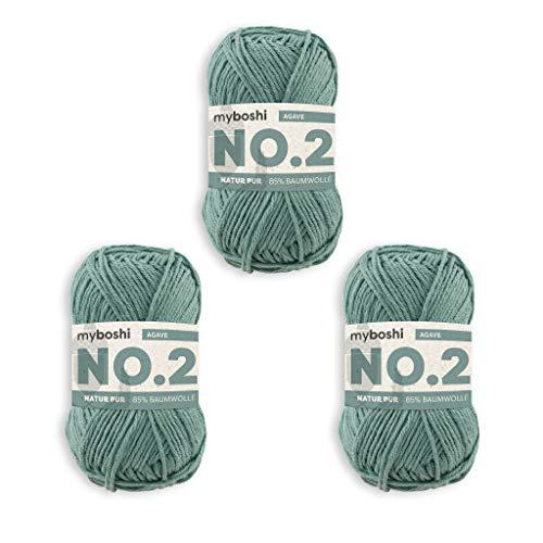 myboshi No.2-Wolle zum Häkeln/Stricken, mit Kapok, vegane Wolle, 60 Grad waschbar, speichelecht, für Baby und Amigurumi, Ökotex-Zertifiziert, 10 knl x 50gr, Ll 100m Grün (Agave) 3 Knäuel