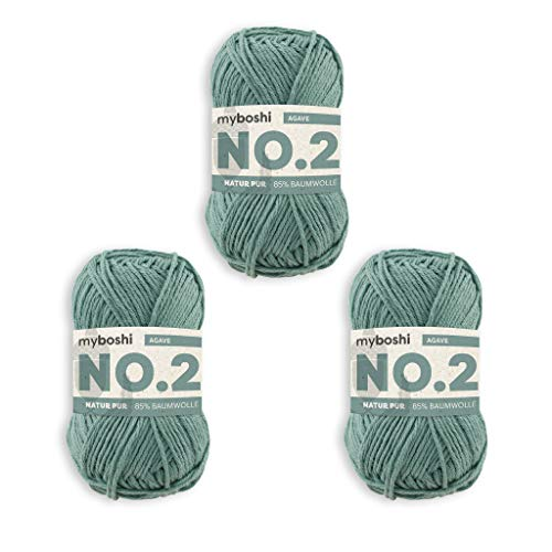 myboshi No.2-Wolle zum Häkeln/Stricken, mit Kapok, vegane Wolle, 60 Grad waschbar, speichelechte Sommerwolle, für Baby und Amigurumi, Ökotex-Zertifiziert, 3 knl x 50gr, Ll 100m Agave 300m