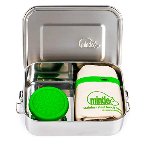 Mintie Snug Leakproof Stainless Steel Lunchbox Set - Bento Box, Tiffin, Eco Metal Pack Lunch Box with Adjustable Compartments, Snack Pot, Band, Lunch Bag. Salad Box Sandwich Container