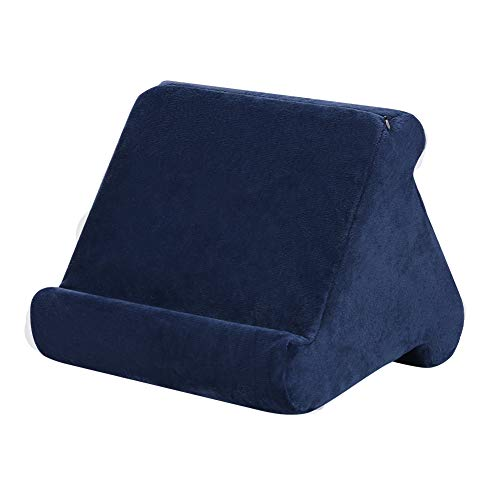 Tablet Pillow Support for Pad,Phone Pillow Lap Stand Tablet Stand Pillow Holder,Used On Bed, Desk, Car, Sofa, Lap, Floor, Couch, MultiAngle Soft Pillow (Navy)