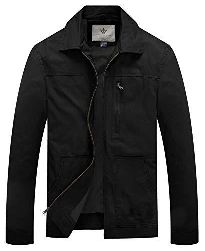 WenVen Men's Causal Cotton Military Windbreaker Lapel Jacket (Black,Large)