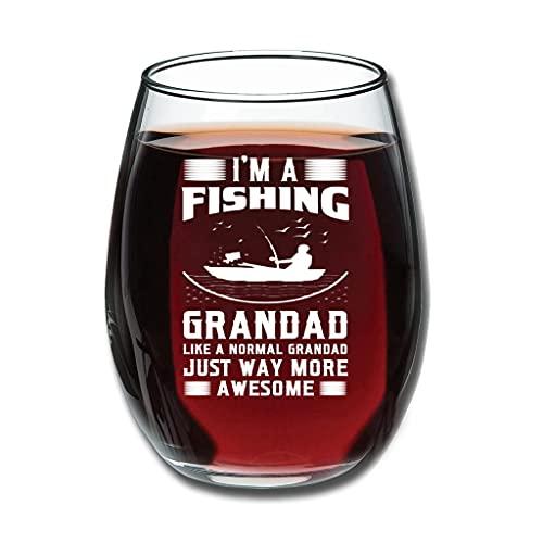 Relaxident Copas de vino tinto – I'm A Fishing Grandad Like A Normal Grandad Just Way More Awesome Upgrade grabado fruta taza buen toque decoración especial blanco 350ml