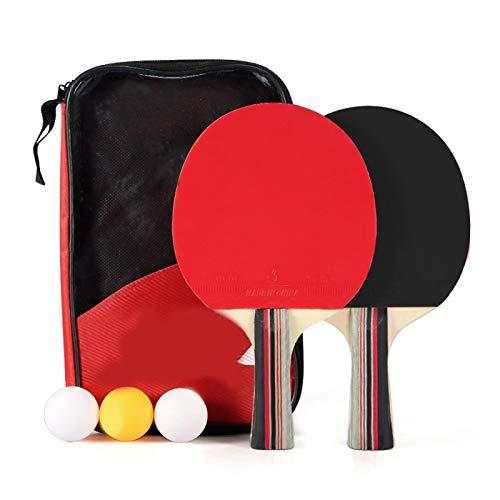 Vbest life Par de paletas de Ping Pong de 7 Capas de Madera de álamo, Raqueta de Tenis de Mesa Adecuada para Jugadores con Agarre de Mano