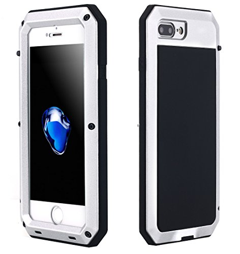 iPhone 8 Plus 7 Plus Case, Shock/Dust/Water Proof Heavy Duty Gorilla Glass Luxury Aluminum Alloy Metal Protective Military Protector Bumper Shell Case for Apple iPhone 8 Plus/iPhone 7 Plus (Silver)