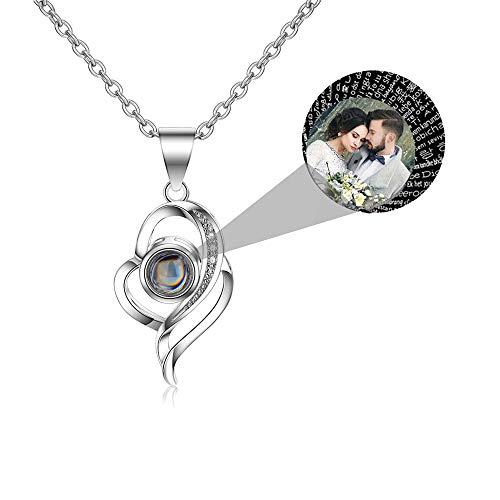 LuBHnna Collar de proyección Personalizado Te Amo en 100 Idiomas Nombre Personalizado y Foto Colgante Collar Plata de Ley 925 Joyas Personalizadas para Mujeres