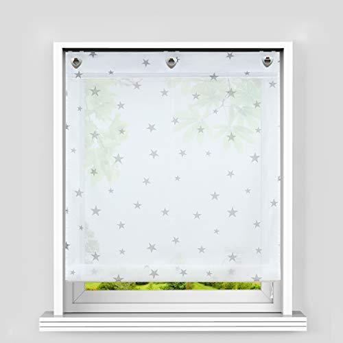 Heichkell Voile Ösen Raffrollo Sterne Muster Transparente Raffgardine mit Haken Feltenrollo ohne Bohren Kinderzimmer Vorhang BxH 100x140cm Weiß-Grau