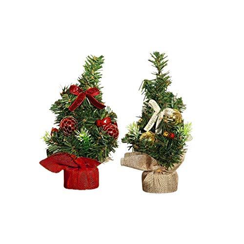 GOODGDN 2pcs Mini Árboles De Navidad De Navidad De Pino Pequeño Colocado De Escritorio De Navidad Festival De Inicio Adornos Mini árbol Decoración Navidad para Mesa, Oficina