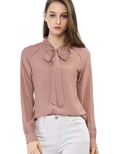 Allegra K Damen Langarm Schleife Cut Out V Ausschnitt Button Top Bluse Rosa XS