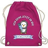 Shirtracer Einschulung und Schulanfang - Ich gehe jetzt in die Schule Pinguin Schultüte - Unisize - Fuchsia - Geschenk - WM110 - Turnbeutel und Stoffbeutel aus Baumwolle