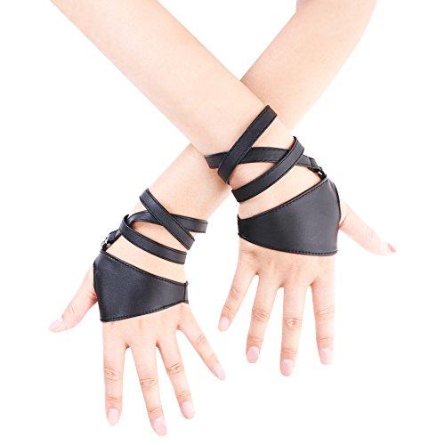 JISEN Barra de la noche banda de Punk de piel sintética las mujeres la mitad de Palm sin dedos guantes - negro -