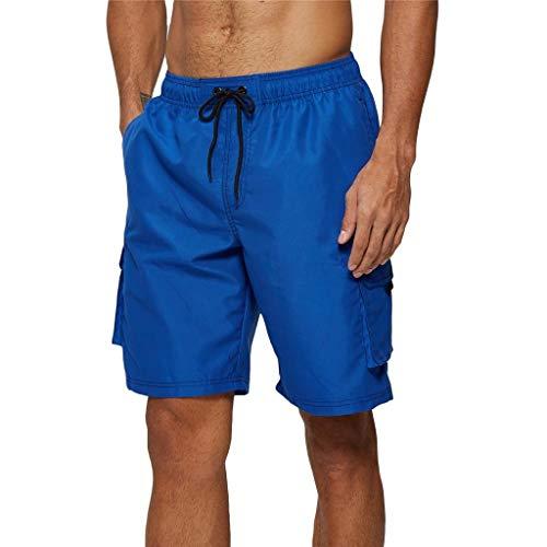 Arcweg Badehose für Herren Lang Mehr Taschen Badeshorts Männer Wasserabweisend Boardshorts Schnelltrocknend Jungen Beachshorts Bermudas mit Tunnelzug Blau L(EU)-MarkeGröße XL