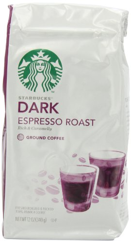 Starbucks Dark Espresso Roast Ground Coffee, 12-Ounce Bags (Pack of 3)