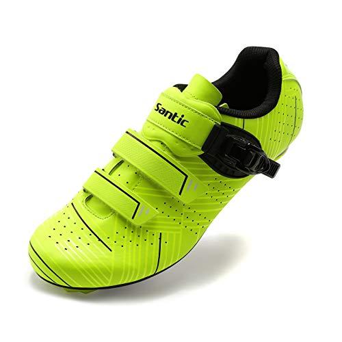 Santic Zapatillas Ciclismo Carretera Zapatillas Bicicleta para Hombres y Mujers Verde EU 39