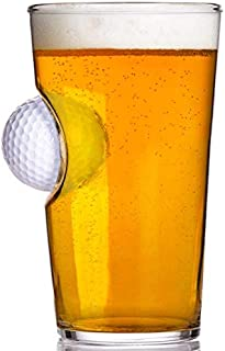 Stuck in Glass Pint Glass embedded with Real Golf Ball