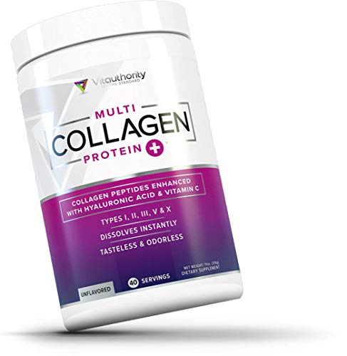 Multi Collagen Peptides Plus Hyaluronic Acid & Vitamin C, Hydrolyzed Collagen Protein, Types I II III V X Unflavored Collagen Powder, 40 Servings