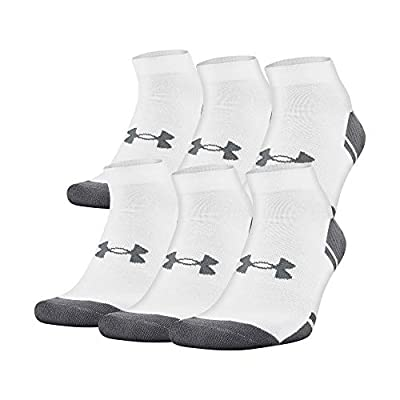 Under Armour Resistor 3.0 Low Cut Socks, 6-Pairs, White/Graphite, Shoe Size: Mens 8-12, Womens 9-12