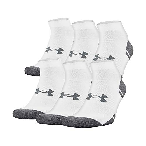 Under Armour Calcetines de Corte bajo Resistor 3.0, Blanco/Grafito (6 Pares), Talla de Zapato: Hombre 8-12, Mujer 9-12