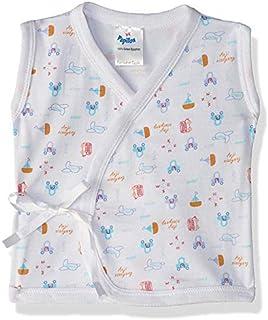Papillon Cotton Printed Sleeveless Front-Tie Wrap Kids Undershirt - White