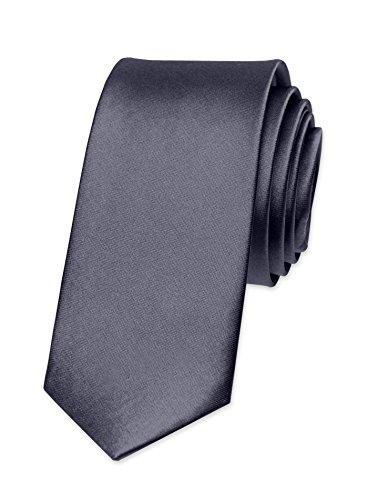 Autiga Krawatte Herren Hochzeit Konfirmation Slim Tie Retro Business Schlips schmal, Dunkelgrau, unisize