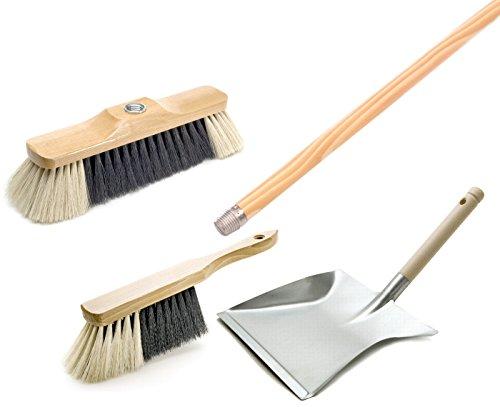 BawiTec Profi- Kehrbesen Set Kehrset Besen Schaufel Zimmerbesen Stiel lackiert Handfeger