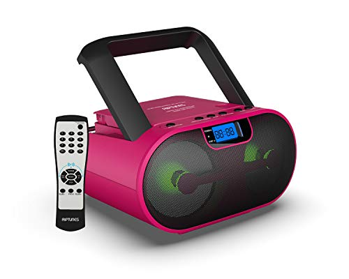 Riptunes CD Player Boombox Portable Radio AM/FM Bluetooth Boombox MP3/CD, USB, mSD, Aux, Headphone Jack Stereo Sound System with Enhanced Bass, LED Lights, LCD Display with Remote, Pink
